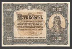 1000 korona 1920.  aUNC!! BARNA SOROZAT, ÉS SORSZÁM!! GYÖNYÖRŰ!!  RITKA!!