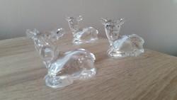 Ólomkristály kis szobor, 3 db dísz  eladó!Őzike német ólomüveg dísz