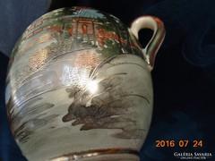 19.sz SHIMAZU középkori shogun klán szignós SATSUMA teás cukortartó