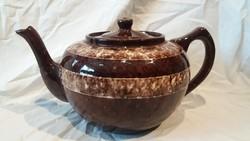 Régi nagyobb mázas barna kerámia teás kancsó kanna
