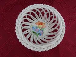 Herendi porcelán, fonott, virágmintás asztalközép, átmérője 9,5 cm.