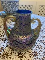 Pallme-König 12cm váza, kék fújt üveg irizált szecessziós bevonattal