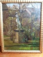 Lőschinger Hugó : Parkrészlet szoborral ( olaj, vászon , 45x35 cm )