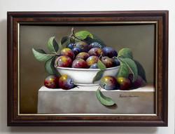 Pankotai Alexandra - Csendélet - olajfestmény - ajándék fa kerettel