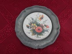 Cink tányér porcelán betéttel, gyönyörű virágmintával.