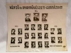 1952-53 Képző és Iparművészeti Gimnázium tabló fotó