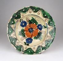 1B109 Antik szilágysági virágmintás cseréptál XIX. század