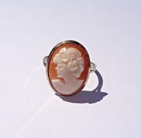 Aranyozott 925-ös keretben kámeás gyűrű