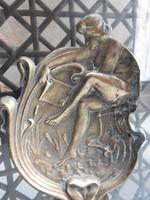Szecessziós akt bronz tál - hamuzó