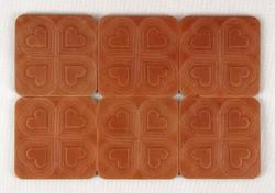1B153 Retro szívecskés bőr poháralátét készlet 6 darab