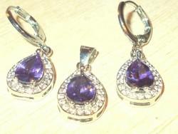 Ametiszt kr. köves Csepp 925 ezüst Ékszer Szett Fülbevaló + Medál