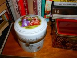 Antik porcelán  réz szerelékes   doboz-jelenetes