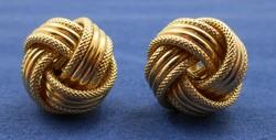 Szép kidolgozású fonott arany fülbevaló 9k