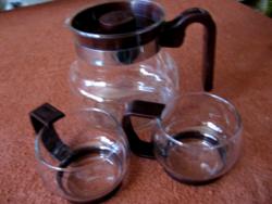 Pyrex hőálló retro teás kancsó 2 pohárral