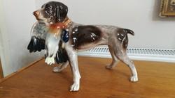 Vadászó kutya porcelán 24 cm magas, nagyméretű