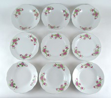 1B150 Régi rózsadízses porcelán tányérkészlet