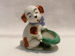 Kalapot tartó kutya porcelán figura