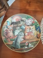 Cicás,macskás tányér,dísztányér,falitányér