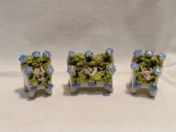 3 db miniatűr porcelán dísz