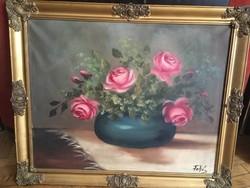 Gyönyörű rózsás csendélet Olaj-vászon
