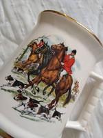Angol, jelzett, 22 karátos arannyal futtatott fajansz emlék korsó ló, vadász motívumokkal