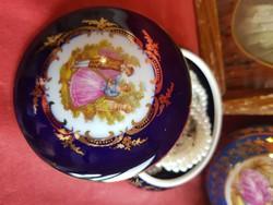 Limoges kobalt kèk porcelàn bonbonier