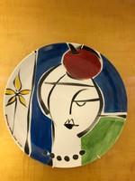 Művész porcelán tál, jelzett iparművész festette darab P44