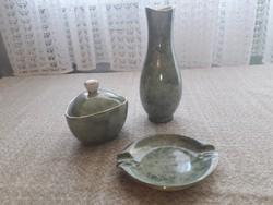 Hollóházi váza, hamutál, bonbonier