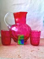 Gyönyörű magyar századeleji rubin üveg bütykös huta üveg fújt szakított kancsó poharakkal