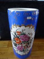 Keleti porcelán kézzel festett padlóváza, esernyőtartó, magassága 46 cm.