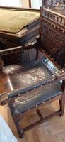 Antik neoreneszánsz íróasztal bőrszékkel