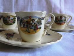 Sarreguemines Obernai francia antik kávés csésze szettek