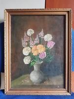 Virágcsendélet, 30x40+ keret, olaj, vászon, szignós