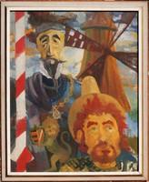 Don Quijote és Sancho Panza - hatalmas méretű olajfestmény keretezve