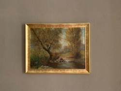 Gyönyörű tájkép, 60x80-ás festmény, új keretben.