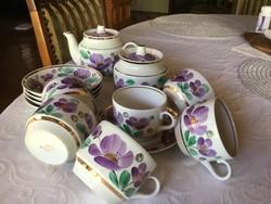 VERBILKI orosz, szovjet teás csésze, 5 személyes, kézi festéses (205)