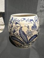 Znaim, Rudolf Dietmar! Hatalmas öblös antik jelzett váza.kaspó virágmintás!  Kobaltkék szinben!