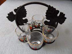 Retro pálinkás készlet népviseletes pohárkákkal vas tartóban