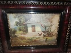 Antik kép baromfi udvar jelzett