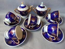 Dúsan aranyozott sötétkék porcelán teás készlet pótlásnak - Orosz