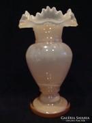 Fodros tetejű álomszép üveg váza , hibátlan