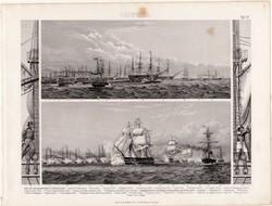 Angol gőzhajó flotta, egyszín nyomat 1875 (17), Brockhaus, eredeti, 1853, Spithead, Leopard, hajó