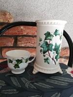 Borostyán mintás körmös váza+csésze