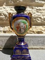 Kobaltkék, jelenetes Amphora, vázácska, aranyozott Altwien jelzés!. Dekoratív!