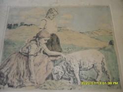 Ritka Glatz Oszkár:  Lányok a réten báránnyal színes rézkarc