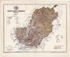 Maros - Torda vármegye térkép 1895 (4), lexikon melléklet, Gönczy Pál, 23 x 29 cm, megye, Posner K.