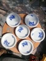Rosenthale mogyórós, pici tányérka, csészealj, salátás, fagyis tálka. Kobaltkék, Meißen virágok stil