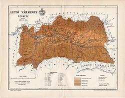 Liptó vármegye térkép 1897 (4), lexikon melléklet, Gönczy Pál, 23 x 30 cm, megye, Posner Károly