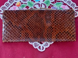 182 Valódi kígyóbőr pénztárca 2 rekeszes 20x9,5 cm