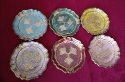 6 db olasz festett fa poháralátét